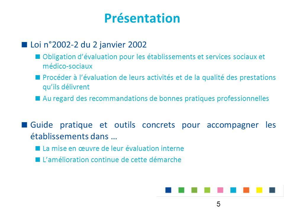 Présentation  Loi n°2002-2 du 2 janvier 2002  Obligation d'évaluation pour les établissements et services sociaux et médico-sociaux  Procéder à l'é