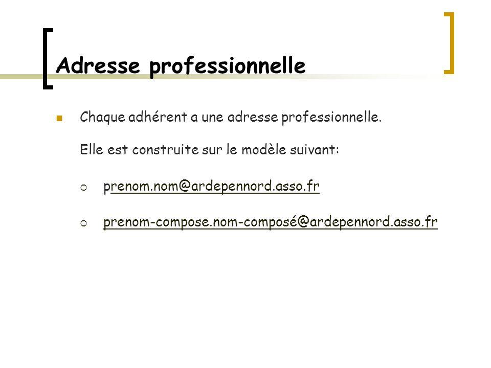 Adresse professionnelle Chaque adhérent a une adresse professionnelle.