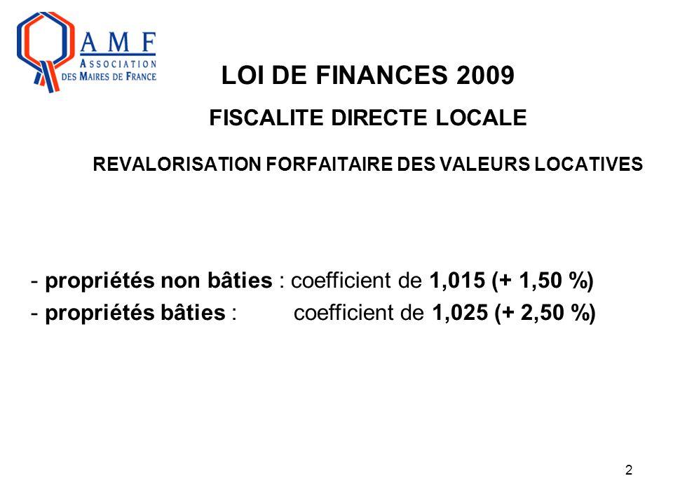 2 LOI DE FINANCES 2009 FISCALITE DIRECTE LOCALE REVALORISATION FORFAITAIRE DES VALEURS LOCATIVES - propriétés non bâties : coefficient de 1,015 (+ 1,5