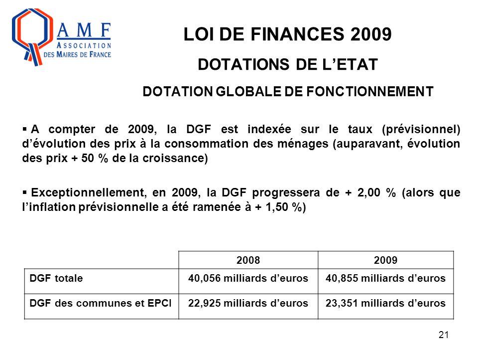 21 LOI DE FINANCES 2009 DOTATIONS DE L'ETAT DOTATION GLOBALE DE FONCTIONNEMENT  A compter de 2009, la DGF est indexée sur le taux (prévisionnel) d'év