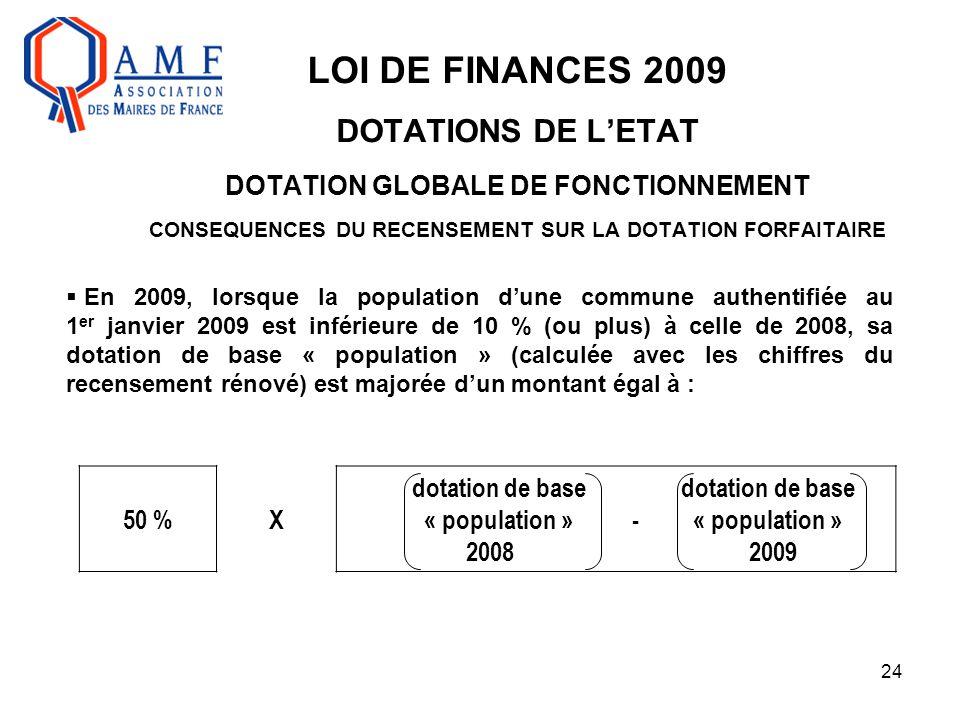 24 LOI DE FINANCES 2009 DOTATIONS DE L'ETAT DOTATION GLOBALE DE FONCTIONNEMENT CONSEQUENCES DU RECENSEMENT SUR LA DOTATION FORFAITAIRE  En 2009, lors