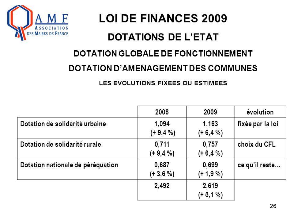 26 LOI DE FINANCES 2009 DOTATIONS DE L'ETAT DOTATION GLOBALE DE FONCTIONNEMENT DOTATION D'AMENAGEMENT DES COMMUNES LES EVOLUTIONS FIXEES OU ESTIMEES 2