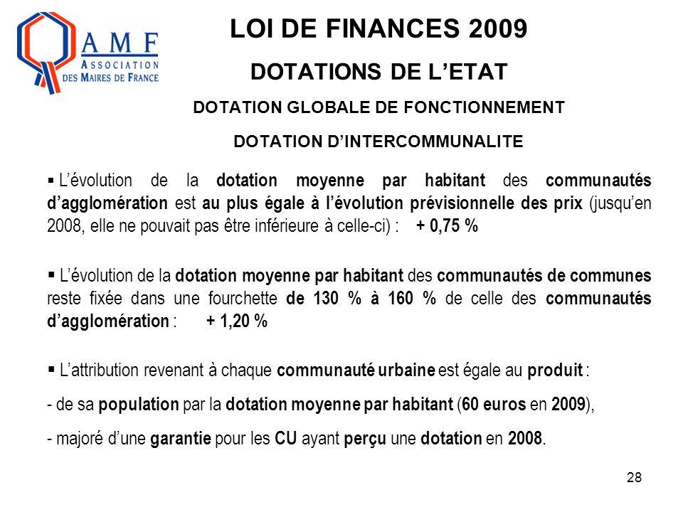 28 LOI DE FINANCES 2009 DOTATIONS DE L'ETAT DOTATION GLOBALE DE FONCTIONNEMENT DOTATION D'INTERCOMMUNALITE  L'évolution de la dotation moyenne par ha