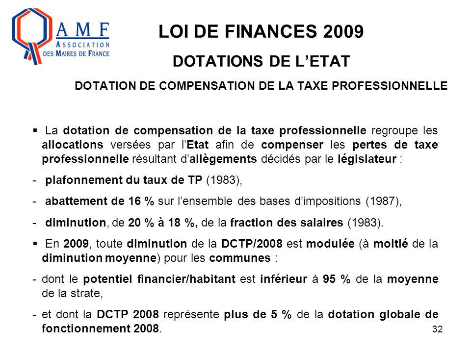32 LOI DE FINANCES 2009 DOTATIONS DE L'ETAT DOTATION DE COMPENSATION DE LA TAXE PROFESSIONNELLE  La dotation de compensation de la taxe professionnel