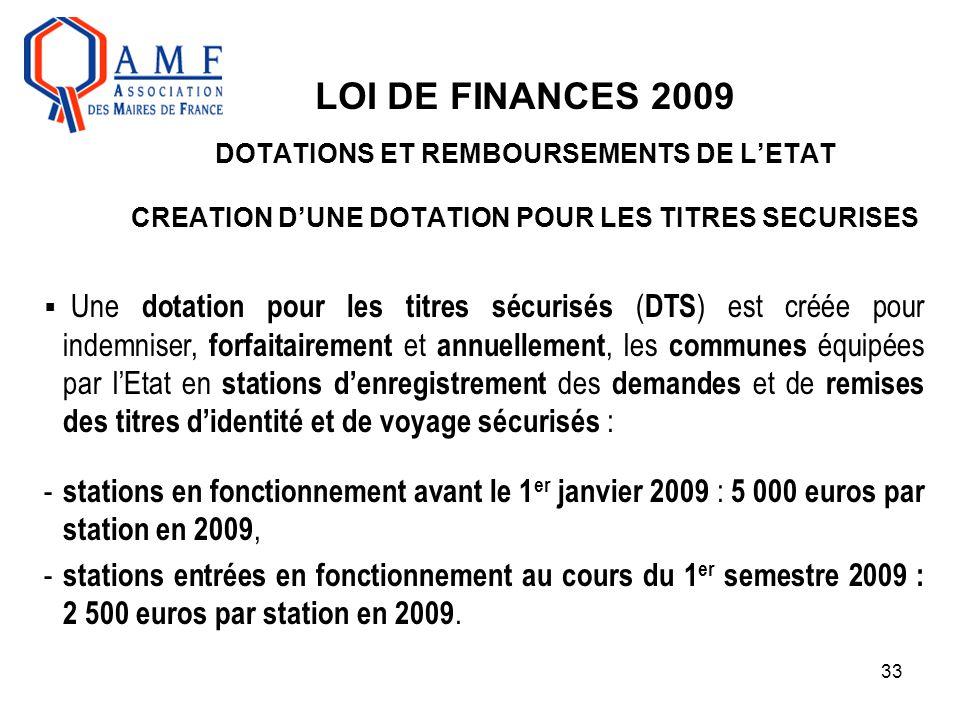 33 LOI DE FINANCES 2009 DOTATIONS ET REMBOURSEMENTS DE L'ETAT CREATION D'UNE DOTATION POUR LES TITRES SECURISES  Une dotation pour les titres sécuris
