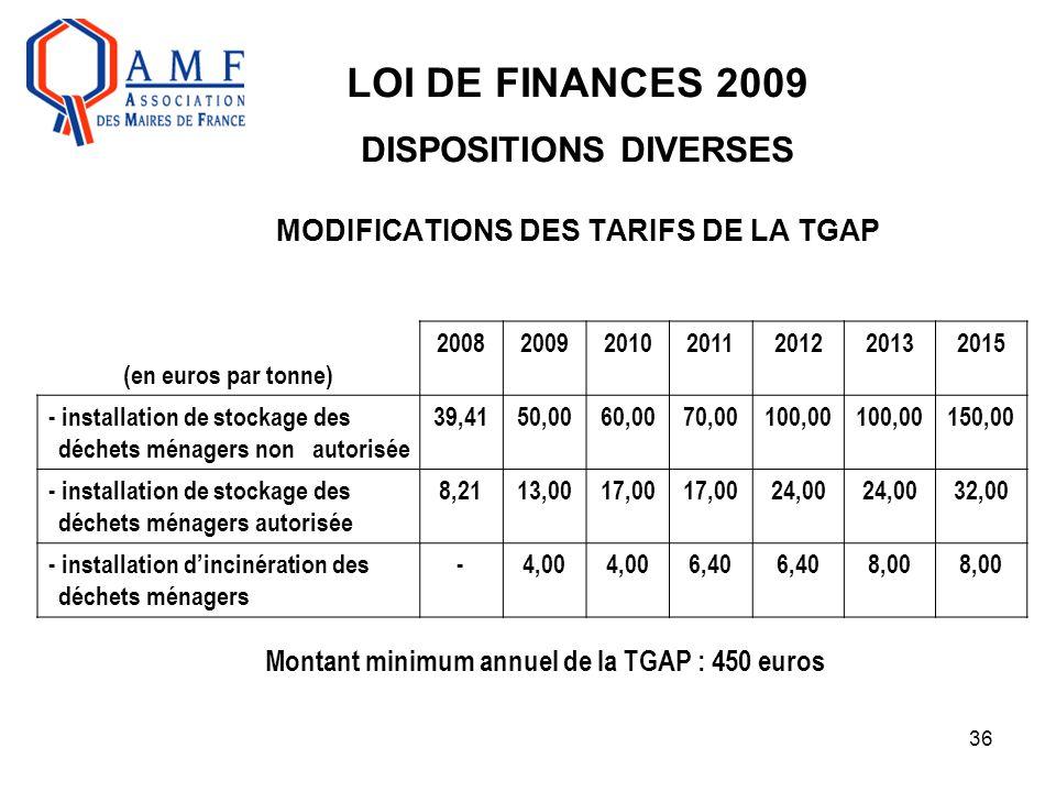 36 LOI DE FINANCES 2009 DISPOSITIONS DIVERSES MODIFICATIONS DES TARIFS DE LA TGAP (en euros par tonne) 2008200920102011201220132015 - installation de