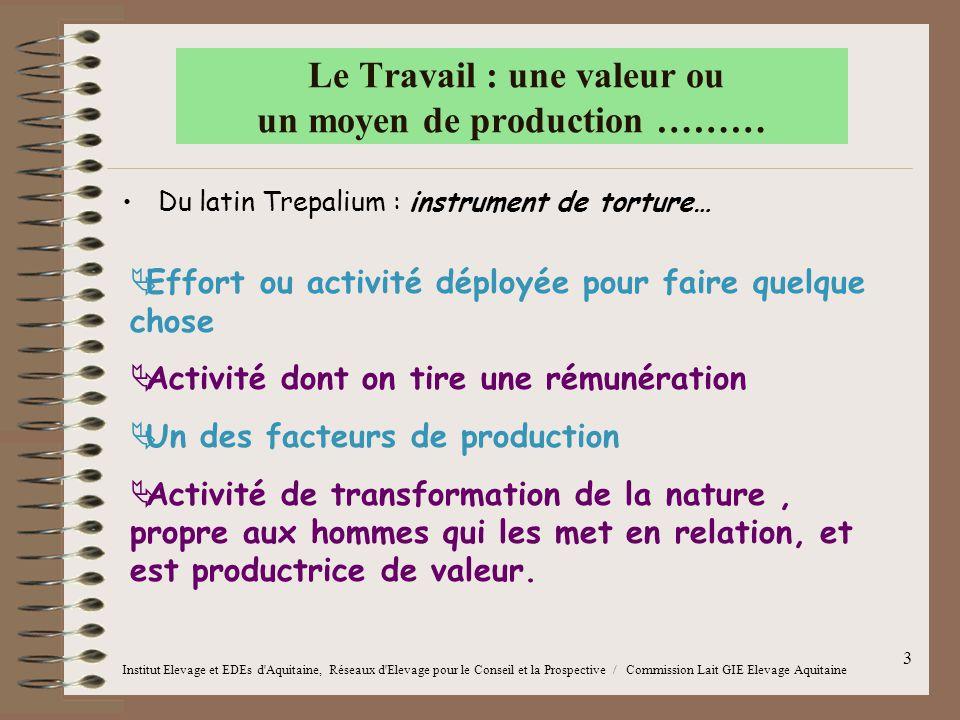 3 Le Travail : une valeur ou un moyen de production ……… Institut Elevage et EDEs d'Aquitaine, Réseaux d'Elevage pour le Conseil et la Prospective / Co