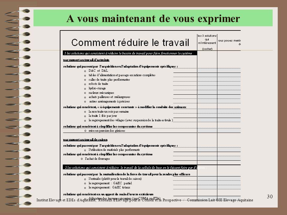 30 A vous maintenant de vous exprimer Institut Elevage et EDEs d'Aquitaine, Réseaux d'Elevage pour le Conseil et la Prospective / Commission Lait GIE