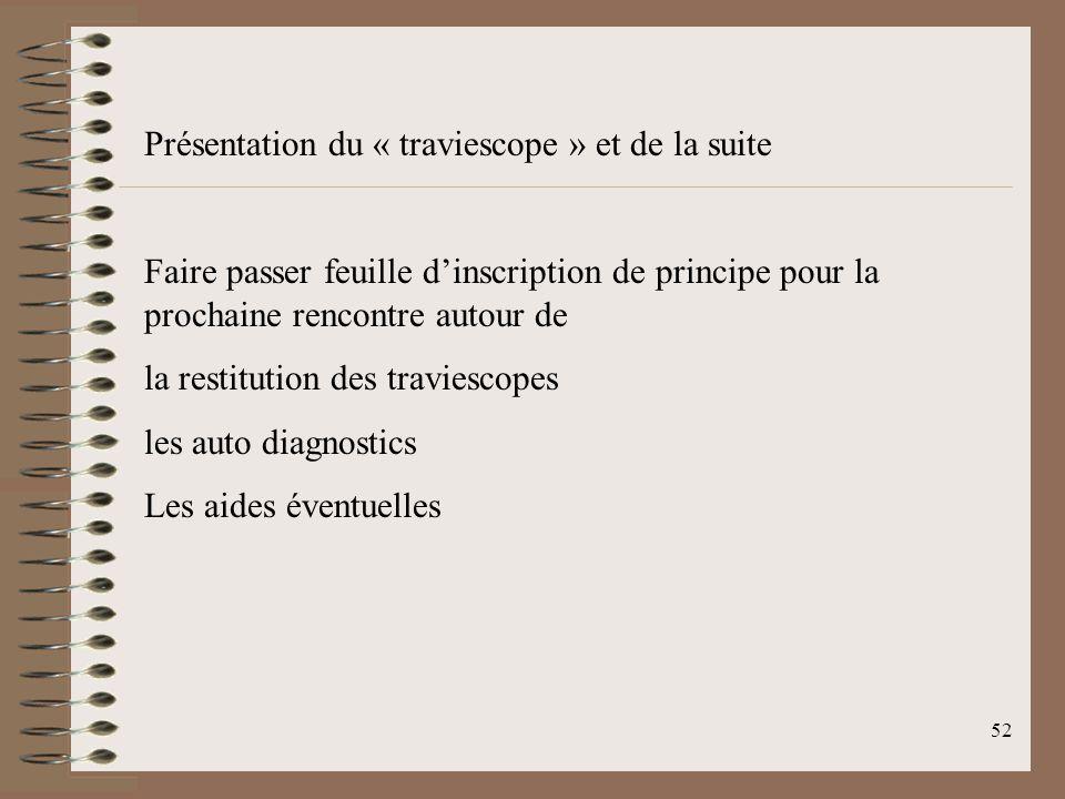 52 Présentation du « traviescope » et de la suite Faire passer feuille d'inscription de principe pour la prochaine rencontre autour de la restitution