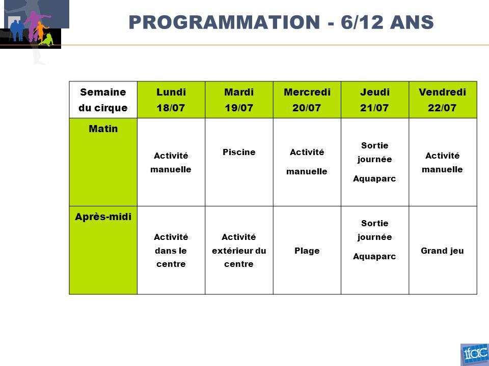 PROGRAMMATION - 6/12 ANS Semaine du cirque Lundi 18/07 Mardi 19/07 Mercredi 20/07 Jeudi 21/07 Vendredi 22/07 Matin Activité manuelle PiscineActivité m