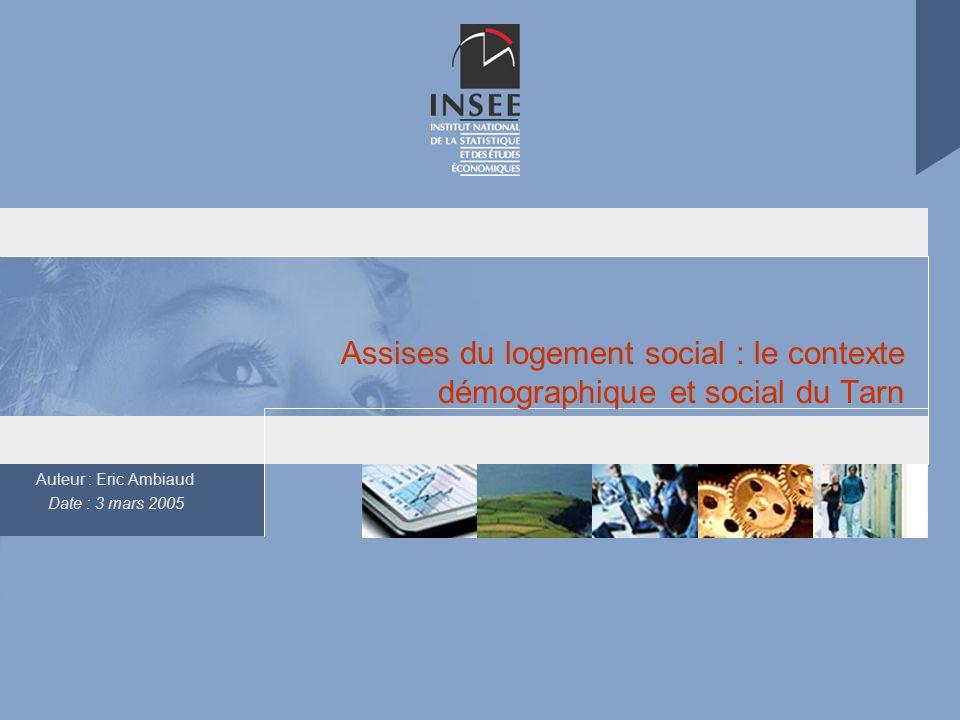 Auteur : Eric Ambiaud Date : 3 mars 2005 Assises du logement social : le contexte démographique et social du Tarn