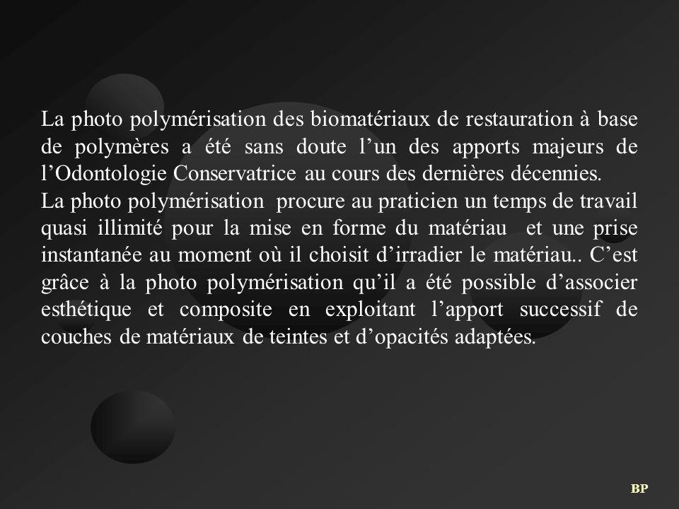 La photo polymérisation des biomatériaux de restauration à base de polymères a été sans doute l'un des apports majeurs de l'Odontologie Conservatrice