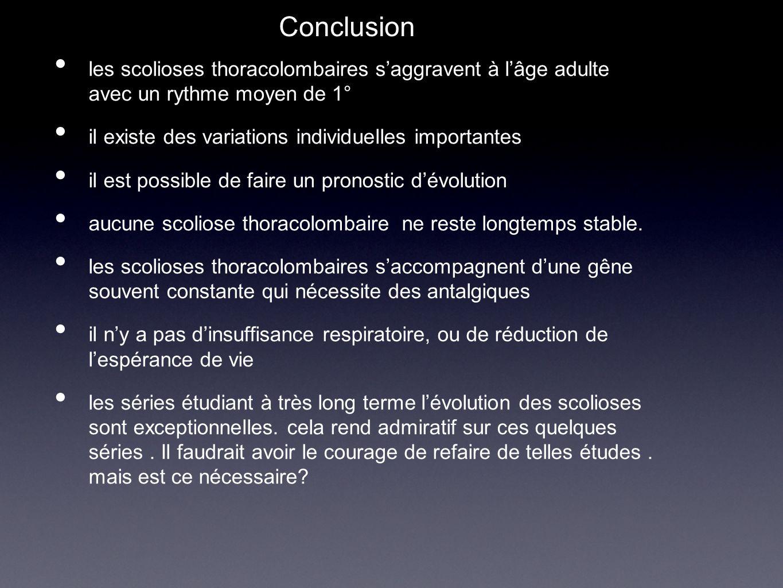 Conclusion les scolioses thoracolombaires s'aggravent à l'âge adulte avec un rythme moyen de 1° il existe des variations individuelles importantes il