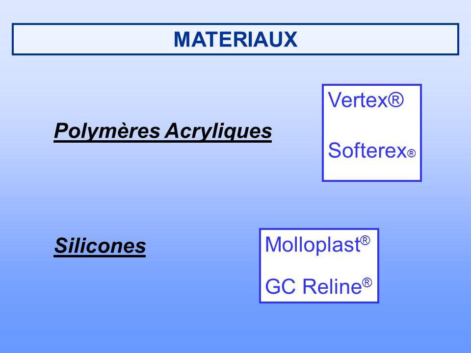 MATERIAUX Polymères Acryliques Silicones Molloplast ® GC Reline ® Vertex® Softerex ®