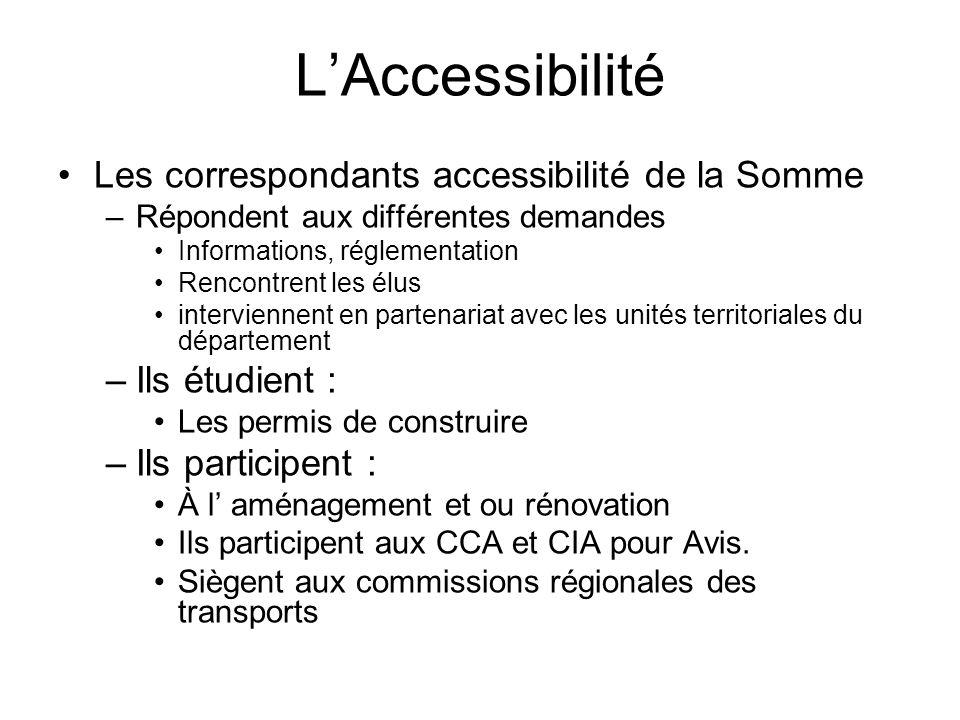L'Accessibilité Les correspondants accessibilité de la Somme –Répondent aux différentes demandes Informations, réglementation Rencontrent les élus int