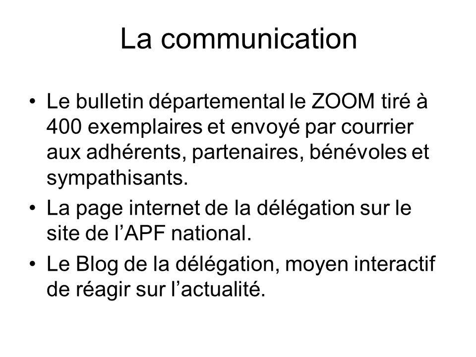 La communication Le bulletin départemental le ZOOM tiré à 400 exemplaires et envoyé par courrier aux adhérents, partenaires, bénévoles et sympathisants.