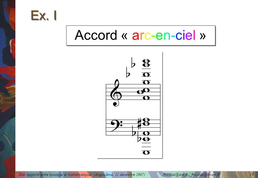 Des rapports entre musique et mathématiques (Angoulème, 11 décembre 2007) fnicolas@ens.fr / fnicolas@ircam.fr 10 Accord « arc-en-ciel » Ex.
