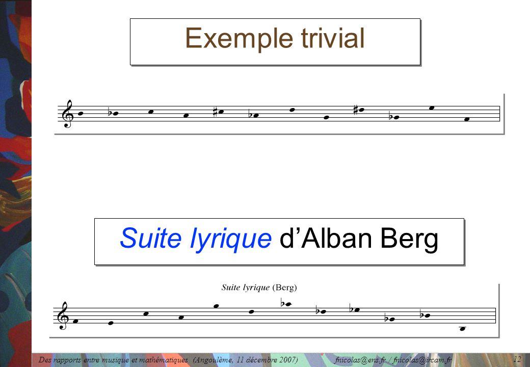 Des rapports entre musique et mathématiques (Angoulème, 11 décembre 2007) fnicolas@ens.fr / fnicolas@ircam.fr 12 Suite lyrique d'Alban Berg Exemple trivial