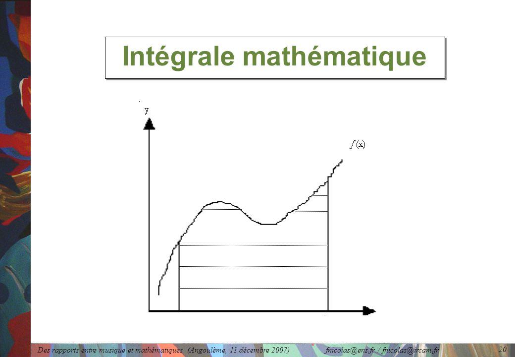 Des rapports entre musique et mathématiques (Angoulème, 11 décembre 2007) fnicolas@ens.fr / fnicolas@ircam.fr 20 Intégrale mathématique