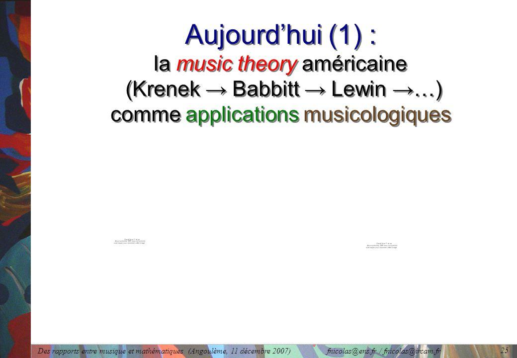 Des rapports entre musique et mathématiques (Angoulème, 11 décembre 2007) fnicolas@ens.fr / fnicolas@ircam.fr 25 Aujourd'hui (1) : la music theory américaine (Krenek → Babbitt → Lewin →…) comme applications musicologiques