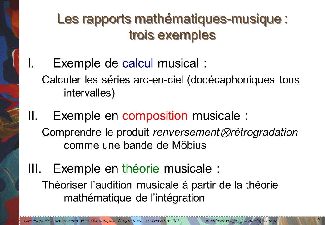 Des rapports entre musique et mathématiques (Angoulème, 11 décembre 2007) fnicolas@ens.fr / fnicolas@ircam.fr 9 Les rapports mathématiques-musique : t