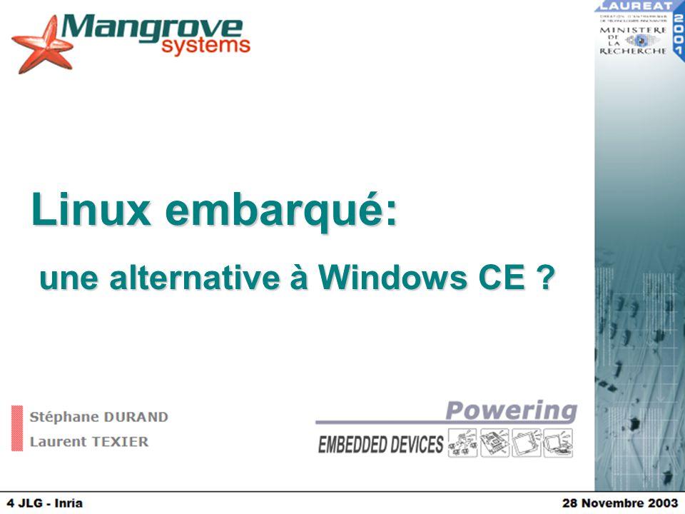 Linux: une alternative à Windows CE  Présentation Mangrove Systems  Distribution Linux embarqué  Perspective WinCe / Linux  Questions