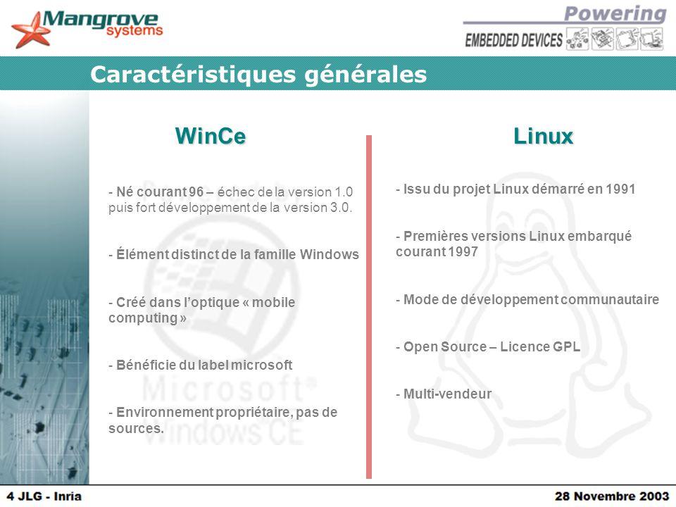 WinCeLinux Caractéristiques générales - Issu du projet Linux démarré en 1991 - Premières versions Linux embarqué courant 1997 - Mode de développement communautaire - Open Source – Licence GPL - Multi-vendeur - Né courant 96 – échec de la version 1.0 puis fort développement de la version 3.0.