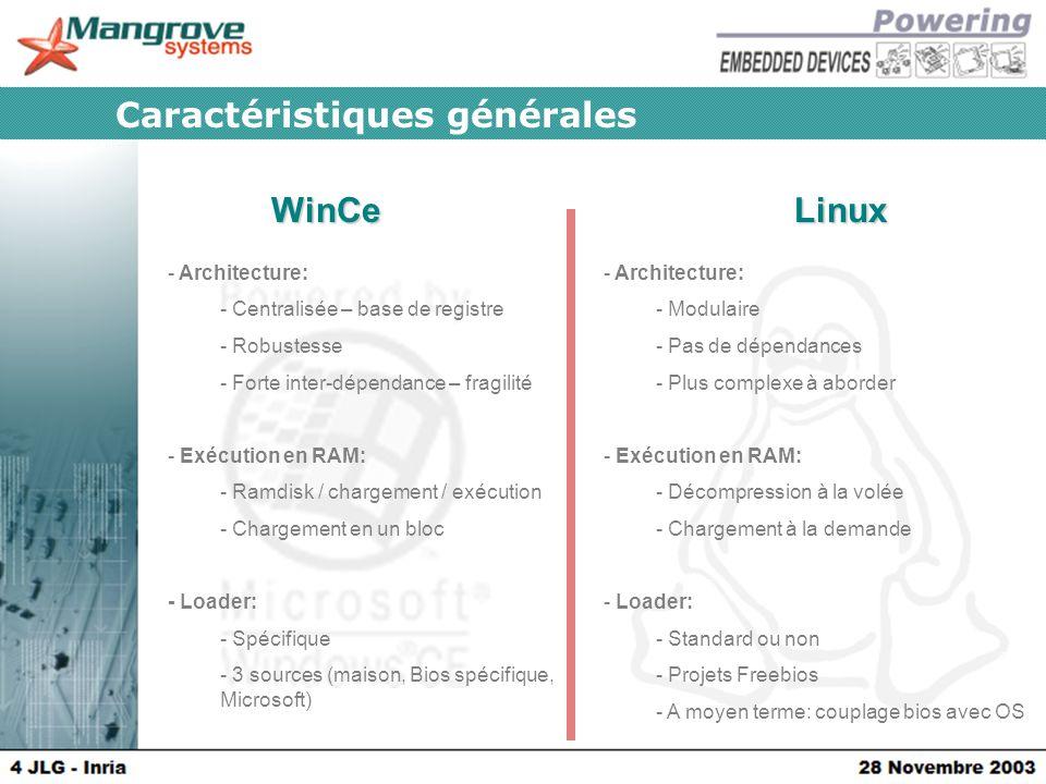 WinCeLinux Caractéristiques générales - Architecture: - Centralisée – base de registre - Robustesse - Forte inter-dépendance – fragilité - Exécution en RAM: - Ramdisk / chargement / exécution - Chargement en un bloc - Loader: - Spécifique - 3 sources (maison, Bios spécifique, Microsoft) - Architecture: - Modulaire - Pas de dépendances - Plus complexe à aborder - Exécution en RAM: - Décompression à la volée - Chargement à la demande - Loader: - Standard ou non - Projets Freebios - A moyen terme: couplage bios avec OS