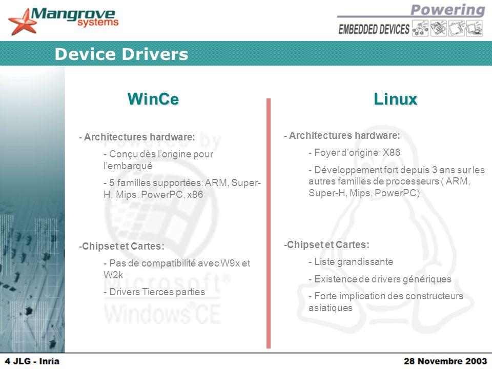 WinCeLinux Device Drivers - Architectures hardware: - Conçu dès l'origine pour l'embarqué - 5 familles supportées: ARM, Super- H, Mips, PowerPC, x86 -Chipset et Cartes: - Pas de compatibilité avec W9x et W2k - Drivers Tierces parties - Architectures hardware: - Foyer d'origine: X86 - Développement fort depuis 3 ans sur les autres familles de processeurs ( ARM, Super-H, Mips, PowerPC) -Chipset et Cartes: - Liste grandissante - Existence de drivers génériques - Forte implication des constructeurs asiatiques