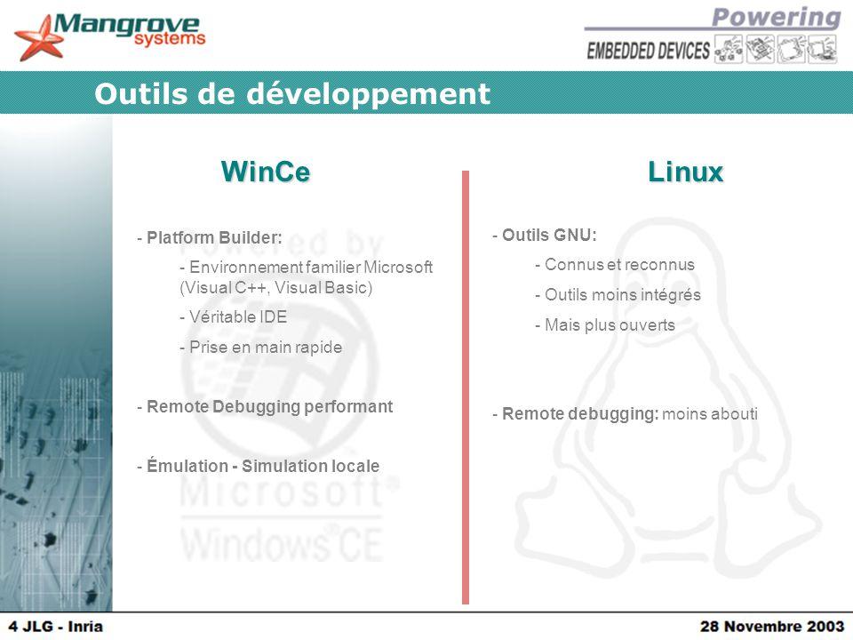 WinCeLinux Outils de développement - Platform Builder: - Environnement familier Microsoft (Visual C++, Visual Basic) - Véritable IDE - Prise en main rapide - Remote Debugging performant - Émulation - Simulation locale - Outils GNU: - Connus et reconnus - Outils moins intégrés - Mais plus ouverts - Remote debugging: moins abouti