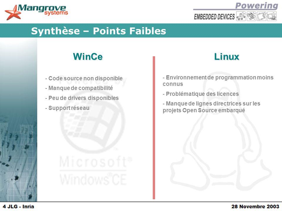 WinCeLinux Synthèse – Points Faibles - Code source non disponible - Manque de compatibilité - Peu de drivers disponibles - Support réseau - Environnement de programmation moins connus - Problématique des licences - Manque de lignes directrices sur les projets Open Source embarqué