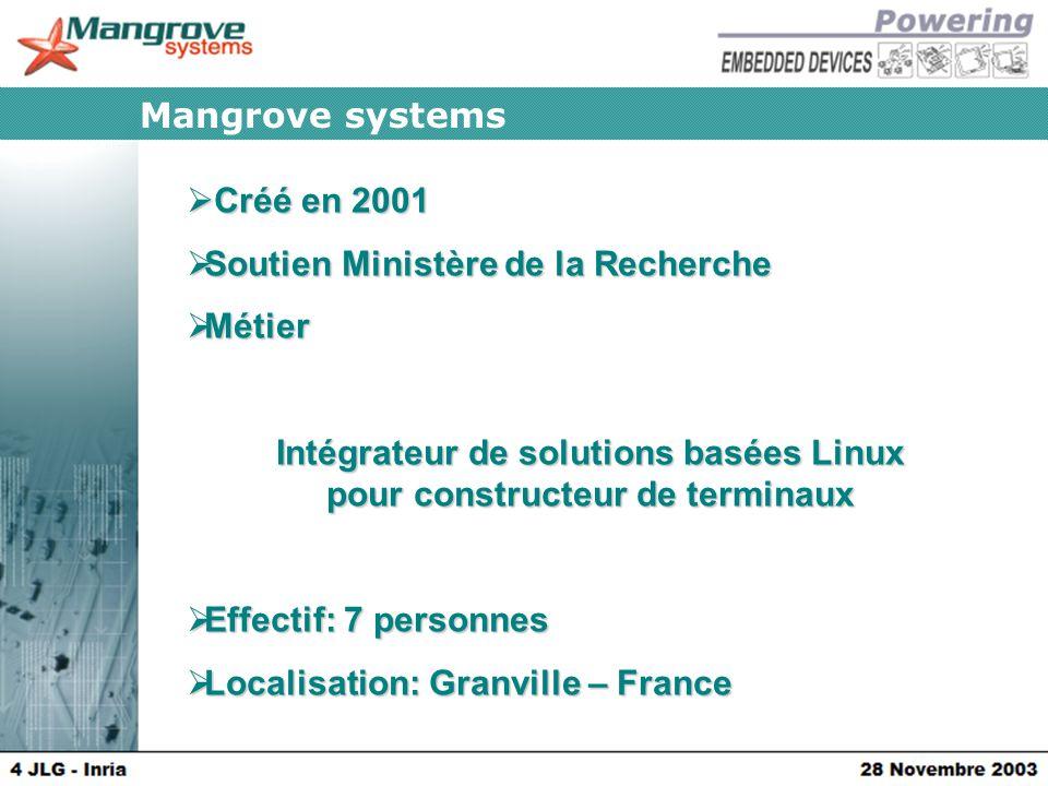 Mangrove systems  Créé en 2001  Soutien Ministère de la Recherche  Métier Intégrateur de solutions basées Linux pour constructeur de terminaux  Effectif: 7 personnes  Localisation: Granville – France