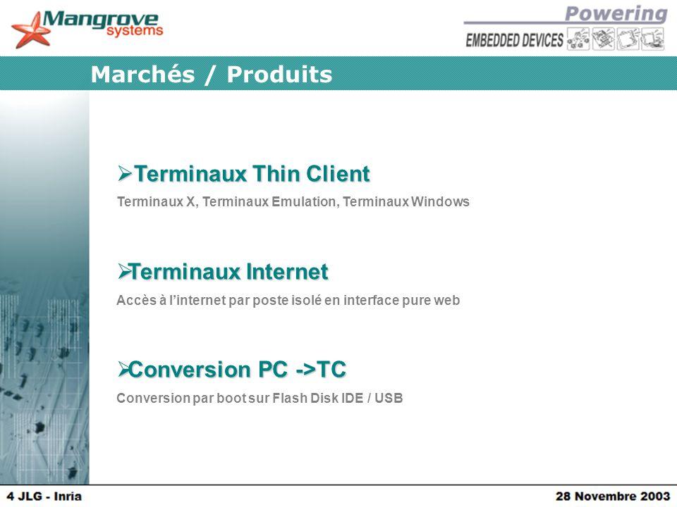 Marchés / Produits  Terminaux Thin Client Terminaux X, Terminaux Emulation, Terminaux Windows  Terminaux Internet Accès à l'internet par poste isolé en interface pure web  Conversion PC ->TC Conversion par boot sur Flash Disk IDE / USB