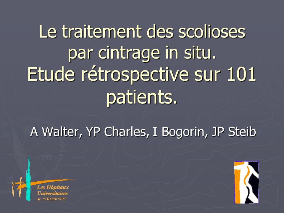Le traitement des scolioses par cintrage in situ. Etude rétrospective sur 101 patients. A Walter, YP Charles, I Bogorin, JP Steib