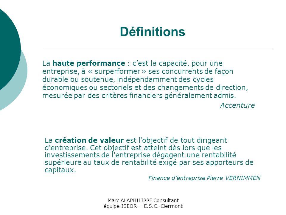 Marc ALAPHILIPPE Consultant équipe ISEOR - E.S.C. Clermont Définitions La haute performance : c'est la capacité, pour une entreprise, à « surperformer