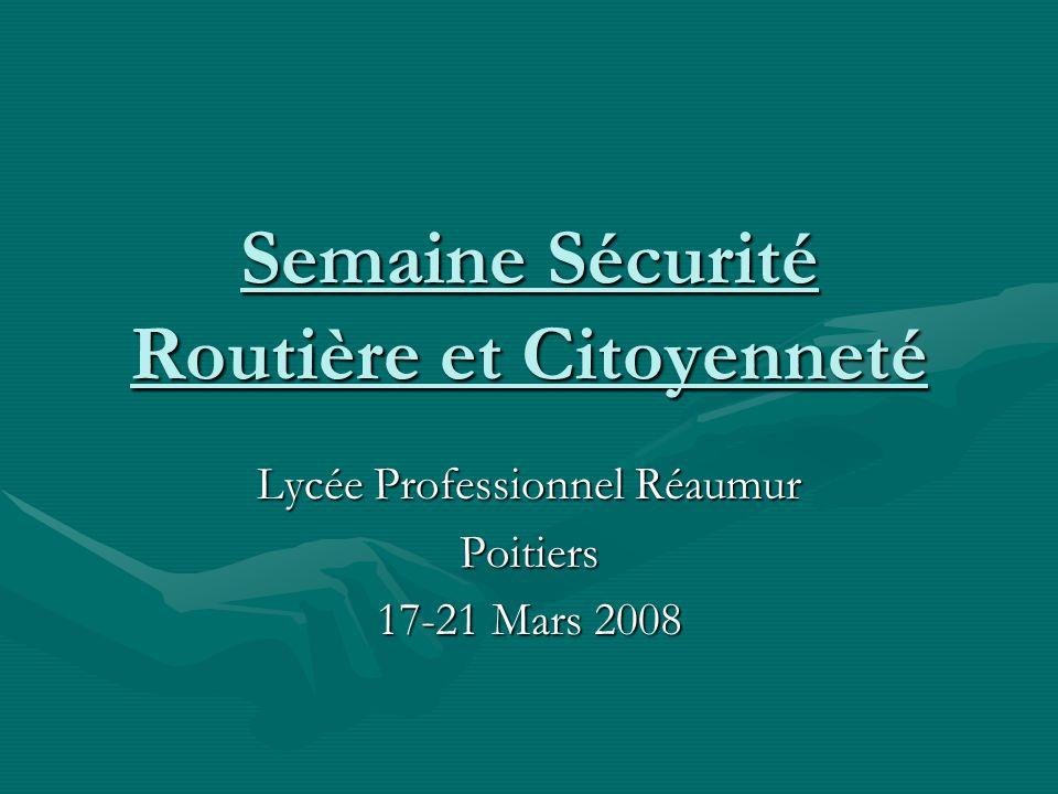 Semaine Sécurité Routière et Citoyenneté Lycée Professionnel Réaumur Poitiers 17-21 Mars 2008