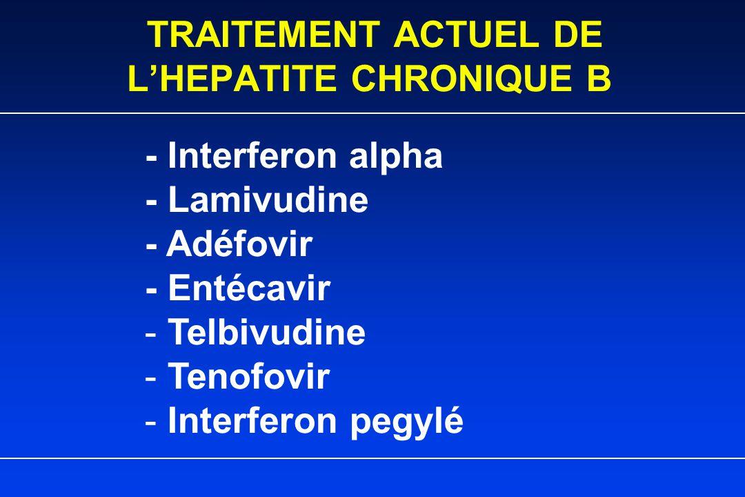 TRAITEMENT ACTUEL DE L'HEPATITE CHRONIQUE B - Interferon alpha - Lamivudine - Adéfovir - Entécavir - Telbivudine - Tenofovir - Interferon pegylé