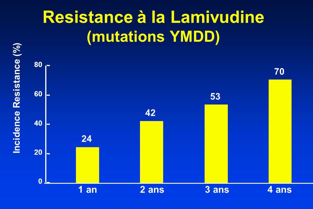 Resistance à la Lamivudine (mutations YMDD) 1 an2 ans3 ans4 ans Incidence Resistance (%) 24 42 53 70 0 20 40 60 80