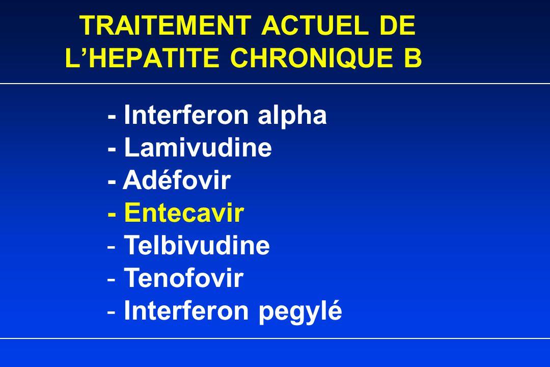 TRAITEMENT ACTUEL DE L'HEPATITE CHRONIQUE B - Interferon alpha - Lamivudine - Adéfovir - Entecavir - Telbivudine - Tenofovir - Interferon pegylé