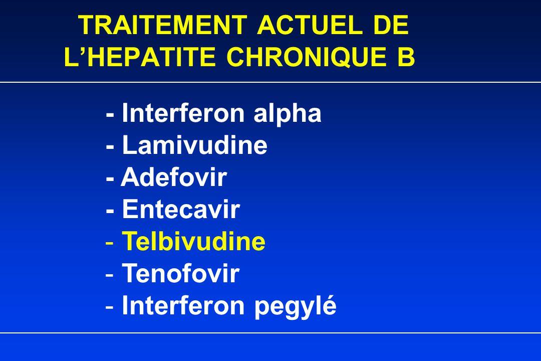 TRAITEMENT ACTUEL DE L'HEPATITE CHRONIQUE B - Interferon alpha - Lamivudine - Adefovir - Entecavir - Telbivudine - Tenofovir - Interferon pegylé