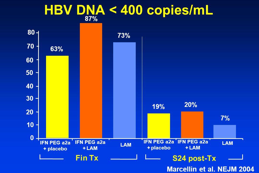 HBV DNA < 400 copies/mL 87% 0 20 40 60 63% 73% IFN PEG a2a + placebo IFN PEG a2a + LAM LAM 7% IFN PEG a2a + placebo IFN PEG a2a + LAM LAM 20% 19% 30 10 50 Fin Tx S24 post-Tx 70 80 Marcellin et al.
