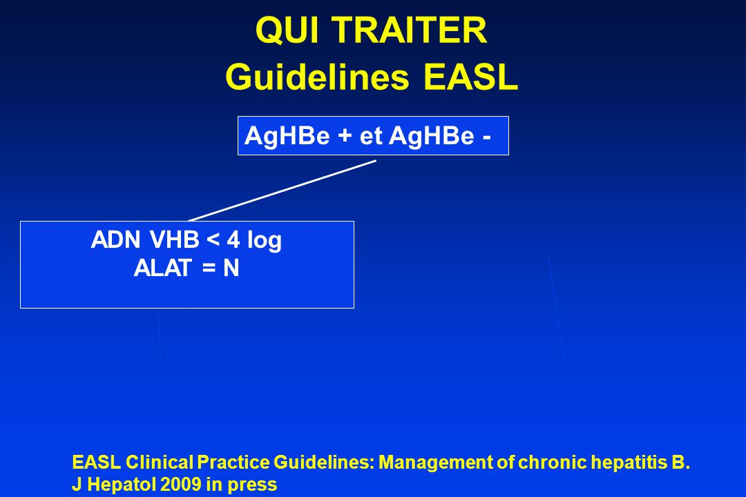 AgHBe + et AgHBe - ANALOGUE Entecavir ou Tenofovir Telbivudine si ADN<7log COMMENT TRAITER Guidelines EASL < 1 log à S12 EASL Clinical Practice Guidelines: Management of chronic hepatitis B.