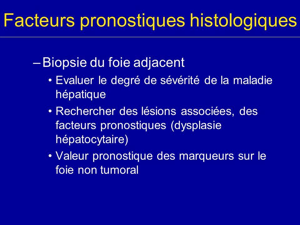 Facteurs pronostiques histologiques –Biopsie du foie adjacent Evaluer le degré de sévérité de la maladie hépatique Rechercher des lésions associées, d