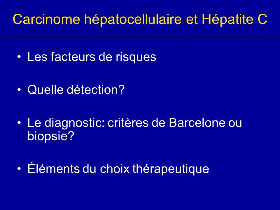 Carcinome hépatocellulaire et Hépatite C Mécanismes Non spécifiques : –Régénération cellulaire au cours de la cirrhose Spécifiques au VHC : –Mutations des gènes de croissance cellulaire et modulation des gènes de transcription par la protéine de capside VHC Survenue à tout moment de l'infection