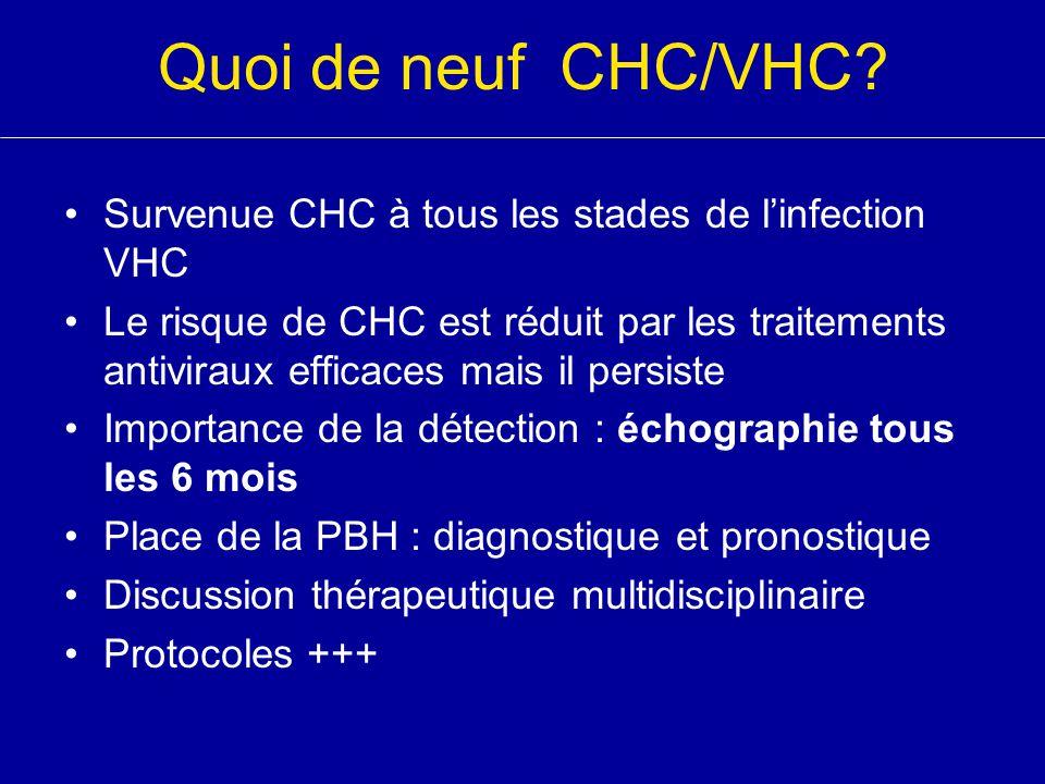 Quoi de neuf CHC/VHC? Survenue CHC à tous les stades de l'infection VHC Le risque de CHC est réduit par les traitements antiviraux efficaces mais il p