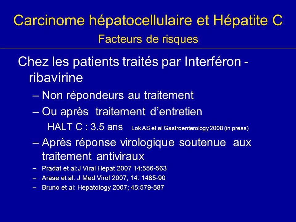 Carcinome hépatocellulaire et Hépatite C Facteurs de risques Chez les patients traités par Interféron - ribavirine –Non répondeurs au traitement –Ou a