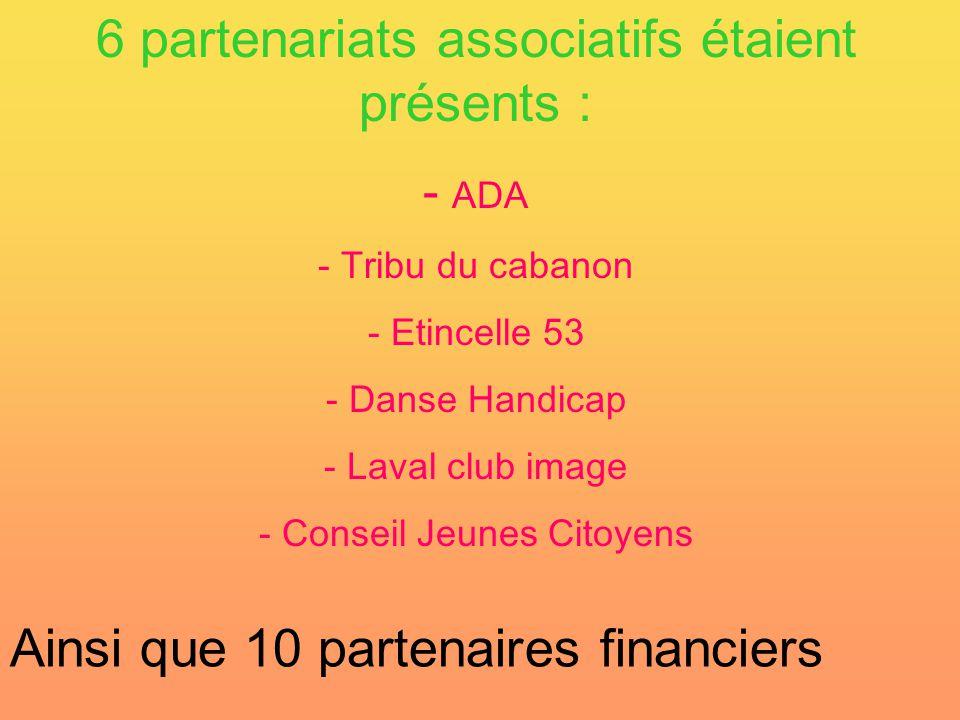 6 partenariats associatifs étaient présents : - A- ADA - Tribu du cabanon - Etincelle 53 - Danse Handicap - Laval club image - Conseil Jeunes Citoyens Ainsi que 10 partenaires financiers