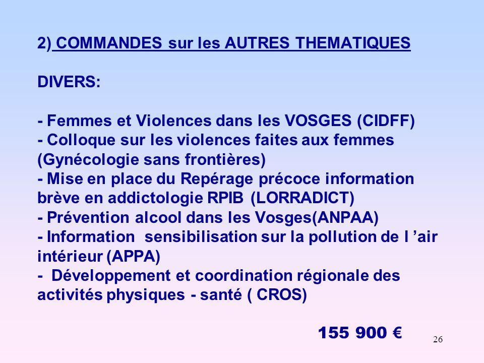 26 2) COMMANDES sur les AUTRES THEMATIQUES DIVERS: - Femmes et Violences dans les VOSGES (CIDFF) - Colloque sur les violences faites aux femmes (Gynécologie sans frontières) - Mise en place du Repérage précoce information brève en addictologie RPIB (LORRADICT) - Prévention alcool dans les Vosges(ANPAA) - Information sensibilisation sur la pollution de l 'air intérieur (APPA) - Développement et coordination régionale des activités physiques - santé ( CROS) 155 900 €