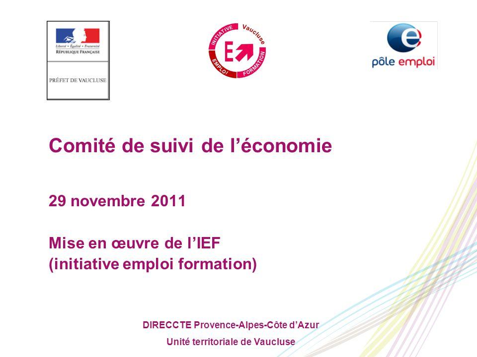 DIRECCTE Provence-Alpes-Côte d'Azur Unité territoriale de Vaucluse Comité de suivi de l'économie 29 novembre 2011 Mise en œuvre de l'IEF (initiative emploi formation)