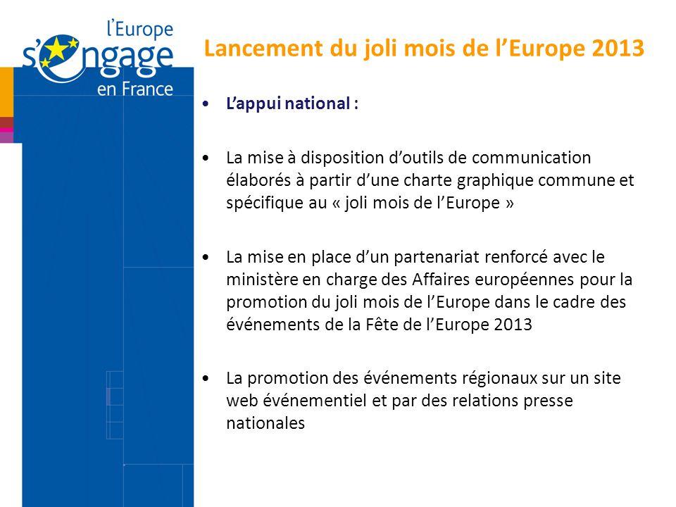 Lancement du joli mois de l'Europe 2013 L'appui national : La mise à disposition d'outils de communication élaborés à partir d'une charte graphique co